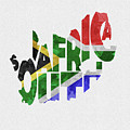 South Africa Typographic Map Flag by Inspirowl Design