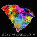 South Carolina Map Color Splatter 2 by Bekim M