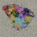 South Carolina Map Color Splatter 5 by Bekim Art