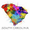 South Carolina Map Color Splatter by Bekim Art
