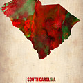 South Carolina Watercolor Map by Naxart Studio