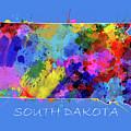 South Dakota Map Color Splatter 3 by Bekim Art