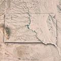 South Dakota State Usa 3d Render Topographic Map Neutral Border by Frank Ramspott
