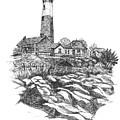 South Fork Lighthouse L I N Y  Bw by Carol Wisniewski