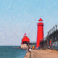 South Pier Of Grand Haven by Tom Mc Nemar