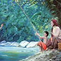Southern Thai Boy Pole Fishing With His Mother by Derek Rutt