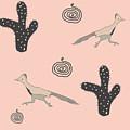Southwest Design In Pink- Roadrunner And Cactus by Irene Irene