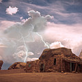 Southwest Navajo Rock House And Lightning Strikes by James BO  Insogna