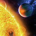 Space Image Extrasolar Planet Yellow Orange Blue by Matthias Hauser