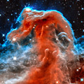 Space Image Horsehead Nebula Orange Red Blue Black by Matthias Hauser
