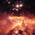 Space Image Orange And Red Star Cluster With Blue Stars by Matthias Hauser