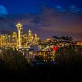 Space Needle In Seattle After Dark by Claudia Abbott