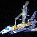 Space Shuttle With Hubble Telescope by Pat Turner