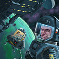 Spaceman With Space Station Orbiting Green Planet by Martin Davey