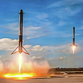 Spacex Falcon Heavy Booster Landing by SpaceX