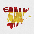 Spain Typographic Map Flag by Inspirowl Design