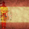 Spanish Grunge Flag With Soldier Silhouette. by Michal Bednarek