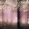 Sparkling Fantasy Fairytale Trees Nature Pink Woodlands - Sparkling Lights Bokeh Fantasy Trees by Kathy Fornal