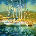 Spectator Boats At A Race by Bob Dornberg