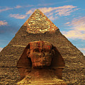 Sphinx And Pyramid Of Khafre by Bob Christopher