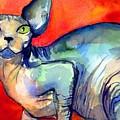 Sphynx Cat 6 Painting by Svetlana Novikova
