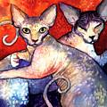 Sphynx Cats Sphinx Family Painting  by Svetlana Novikova