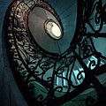 Spiral Ornamented Staircase In Blue And Green Tones by Jaroslaw Blaminsky