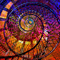 Spiral Spacial Abstract Square by Mary Clanahan