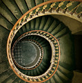 Spiral Staircase  In Green And Yellow by Jaroslaw Blaminsky