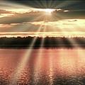 Spiritual Sunset Above A Mountain Lake by A Gurmankin