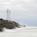 Splashing Jetty Waves by Justin Mountain