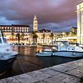 Split Harbor Night View In Croatia by Didier Marti