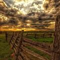 Split Rail Cedar Fence Sunset by Twoblueowls Photography