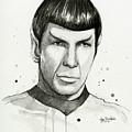 Spock Watercolor Portrait by Olga Shvartsur