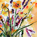Spring Daffodils Flowers Watercolor Painting by Ginette Callaway