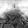 Spring Point Ledge Light Sea Smoke Bw by Susan Candelario