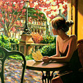 Spring, View From A Cafe Window In Paris by Roman Fedosenko