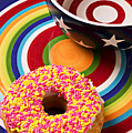 Sprinkled Donut On Circle Plate With Bowl by Garry Gay