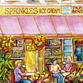 Sprinkles Ice Cream And Sandwich Shop Palm Beach Florida American Watercolor Street Scene C Spandau by Carole Spandau