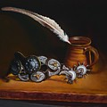Spurs And Hand Made Pottery And Feather by Mahto Hogue