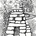 Square Rock Fairy House And Squirrel by Dawn Boyer
