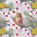 Squirrel In Snow With Cranberries by Nancy Lee Moran