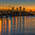 St Augustine Bridge Of Lions Sunset Dsc00433_16 by Greg Kluempers