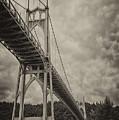 St. Johns Bridge In Black And White by Loree Johnson