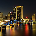 St Johns River Skyline By Night, Jacksonville, Florida by Kay Brewer