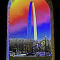 St Louis Arch Rainbow Aura  by Patricia L Davidson