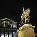 St Louis Art Museum With Statue Of Saint Louis At Night by David Coblitz