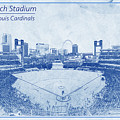 St. Louis Cardinals Busch Stadium Blueprint Names by David Haskett II