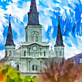 St. Louis Cathedral - Paint by Steve Harrington