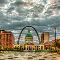St Louis Gateway Arch Kiener Plaza Market Street St Louis Missouri Art by Reid Callaway